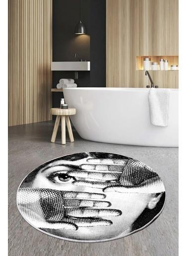 Arma House 80X80 Dijital Kaymaz Tabanlı 2 Hand Fornasetti Banyo Ve Kapı Paspası Renkli